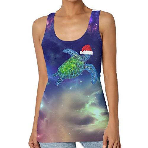 Turtle Beach Meer Weihnachtsmütze, Damen-Tank-Top, Rundhalsausschnitt, Basic Cami ärmelloses Hemd, Tank-Top, Damen-Sommer-T-Shirt, Übergröße Gr. X-Large, Schwarz (Ärmelloses Georgette-bluse)