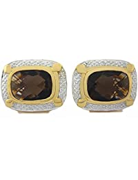 Cufflink-Tresure 925 Sterling Silver Natural Faceted Smoky Topaz Gemstone Cufflinks Men's Jewelry