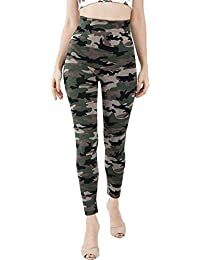 Poly-Cotton Army Style Track Leggings For Girl's (Camouflage Print) in Free Size pack of 1.