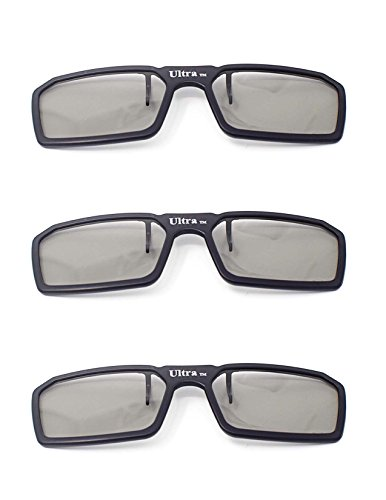 Ultra 3 Schwarz Paare von Clip Auf Passiven 3D-Brillen für Männer Frauen Geeignet Verschreibungspflichtige Brillen Rundschreiben polorized Eyewear-Stil alle Passivfernsehkinos und Projektoren Wie RealdD Toshiba LG Sony Panasonic