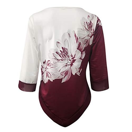 LILIGOD Damen Elegant Langarm Bluse O-Ausschnitt Drucken Tuniken Unregelmäßige Rand Langarmshirts Lose Größe Oberteil Mode Beiläufige T-Shirt Tops Oberseiten