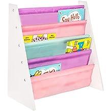 LIVIVO®, scaffale in legno per bambini, con tasche di facile accesso in morbido tessuto di nylon per proteggere i libri, dell'altezza perfetta per i piccoli lettori Pinks