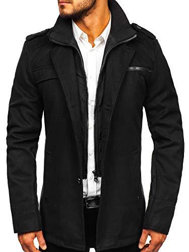 BOLF Herren Mantel mit Reverskragen Wintermantel eleganter Look Coat PPM 8856 Schwarz M [4D4]