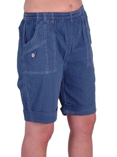 EyeCatch - Damen Entspannte Komfort Elasticized Flexi Stretch Damen Shorts Mollige Denim Blue Gr. 40 - Denim-shorts Strampler