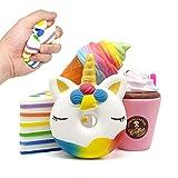 Amteker 4 Stück Kawaii Squishy Spielzeug - Einhorn Frappuccino EIS Kuchen Squeeze Stress Squishies...