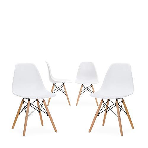 Wv leisuremaster sedia da pranzo/ufficio con faggio wooden legs soggiorno, sala da pranzo, caffè negozi, set di 4, bianco