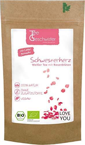 BIO Schwester-Herz | Weißer Tee mit Rosenblüten | Geschenk-Idee für deine Schwester oder beste Freundin zum personalisieren | Tee-Geschwister