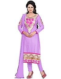 Jheenu Women's Purple Cotton Straight Unstiched Dress Material.