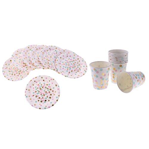 MagiDeal Set Vaisselle Jetables 10pcs Assiettes Rond +10pcs Gobelet Carton Motif Pois Rond Multicolore pour Anniversaire
