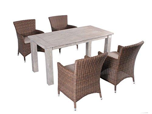 Trendy-Home24 Strandgut07 5tlg. Essgruppe Sitzgruppe 160 x 80 cm Teakholz grau finish hochwertiges Polyrattan Sessel Sitzgruppe Teaktisch Gartenmöbel braun