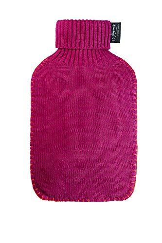 Fashy 2 litri, colore Fucsia-Borsa dell'acqua calda con rivestimento lavorato a maglia con collo alto e cuciture