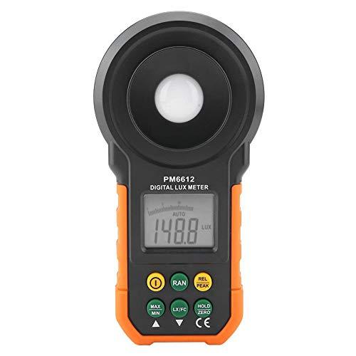 Medidor de luz digital, PEAKMETER Luminómetro fotómetro de alta precisión de 200,000 lux con rango manual automático, máx. / Mín, Retención de datos(PM6612)