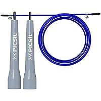 PICSIL Comba ABS Cuerda de Saltar Ligera 28grs de Plástico ABS PVC Pintura Resistente Cable Ajustable 25mm para Alta Velocidad orientada Profesionales Hombres y Mujeres Fitness y Cross Training (Azul)
