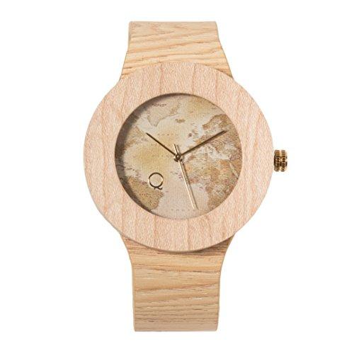 seQoya - Stone Traveller | Reloj de Madera con Esfera de Madera y Correa de Piel ecológica simulando Madera Estampada | Reloj Hombre y Mujer | Diseño único y Original