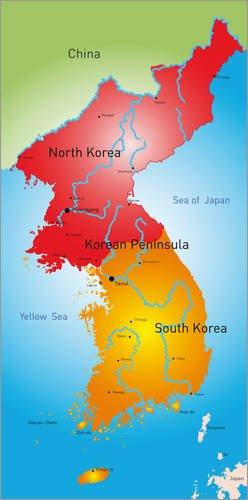 Posterlounge Holzbild 90 x 180 cm: Nord und Südkorea von Editors Choice
