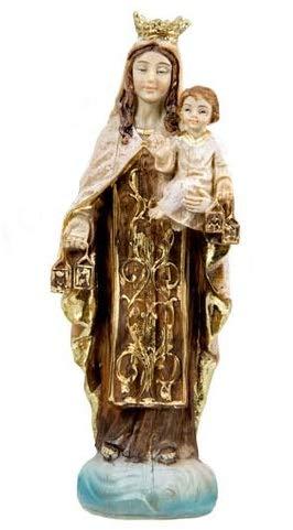 DRW Virgen del Carmen 11 cm Resina con Caja PVC con la Historia 11 cm