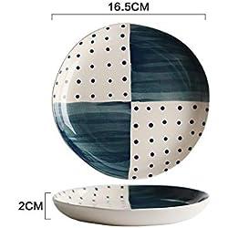 LEIT Vajilla de cerámica de Lunares Taza de Plato de casa Plato de Cena Tazón de arroz Tazón de Fuente de Sopa de Fideos Plato de Salsa A-13,9