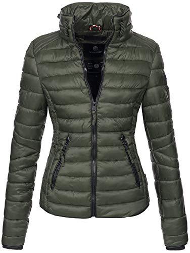 Marikoo Damen Jacke Steppjacke Übergangsjacke gesteppt mit Kordeln Frühjahr Camouflage B405 (XL, Olive)