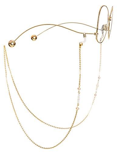 Mini Tree Brillenketten für Lesebrillen Gold Perlen Brillenband Damen Lesebrille Brille Kette Sonnebrillen Band Lesebrillen Kette Lesebrillen Band Kreuz Brille Cords Hals Cord Strap