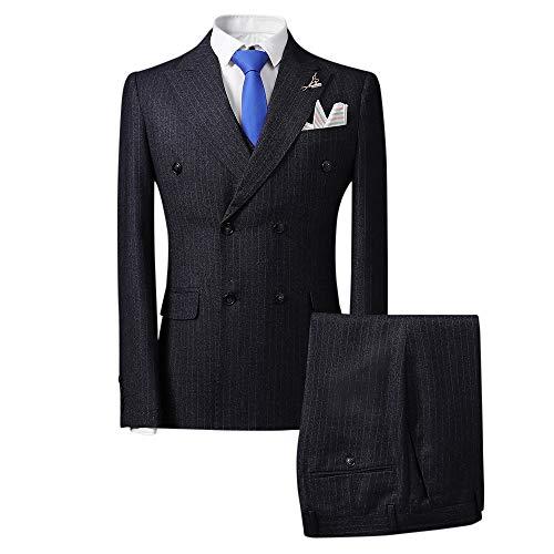 EHOMEBUY Herren Modisch Zweireiher Anzug Smokings Hochzeit Gestreift Businessanzug Büro 3-Teilig Anzug