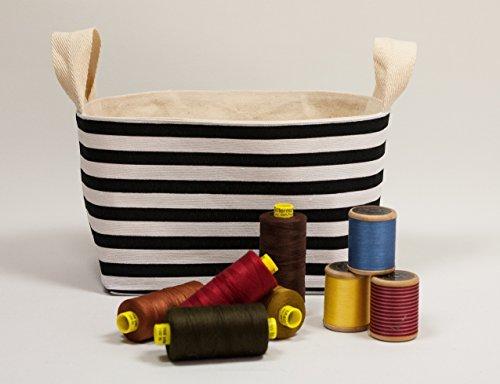 Leinwand Baumwoll-Gewebe Korb. Korb für Speicher. Stoff-Korb Streifen schwarz / weiß Badezimmer-speicher-körbe
