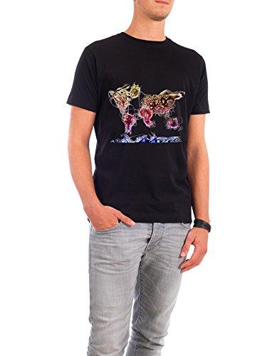 """Design T-Shirt Männer Continental Cotton """"World Map Light Writing"""" in Schwarz Größe M - stylisches Shirt Kartografie Reise Reise / Länder Reise / Afrika Reise / Asien von Michael Tompsett"""