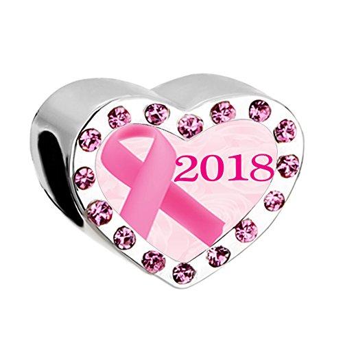 Sug Jasmin Brustkrebs-Charm-Anhänger Herz rosa Schleife passend für europäische Charm-Armbänder