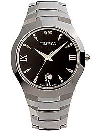 Time100 - Montre quartz homme noire rond en acier au tungstène miroir en saphir de luxe incrustée de strass avec calendrier - W50028G.01A