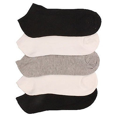 5-x-BRITWEAR-Ladies-Women-Cotton-Rich-Trainer-Ankle-Liner-Socks-Grey-White-Black