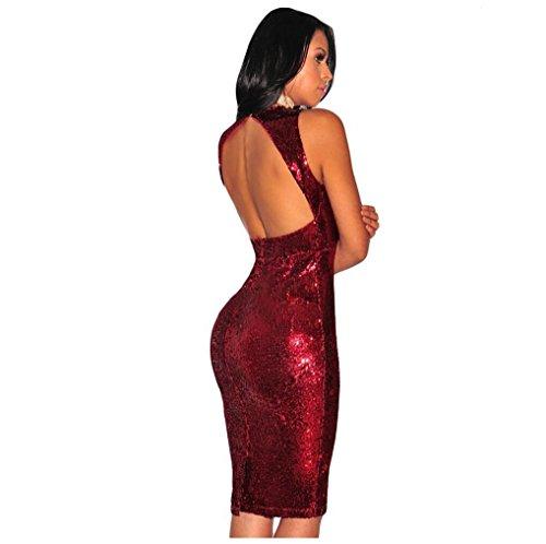 GJX Europe et robe de mode Paillettes V-cou Les États-Unis New Women sans manches Mini robe Slim Red
