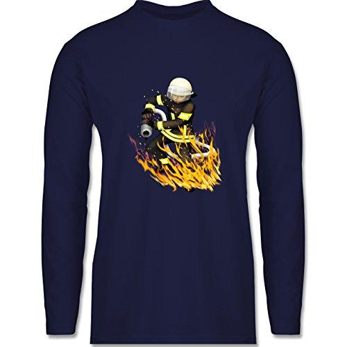 Feuerwehr - Cooler Feuerwehrmann - Longsleeve / langärmeliges T-Shirt für Herren Navy Blau