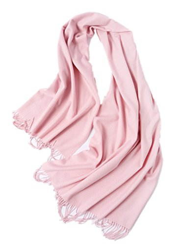 Prettyland - xl plaid sciarpa di lana 100% cashmere lunga pesante per donne uomo unisex caldo e morbido tinta unita poncho stola - rosa