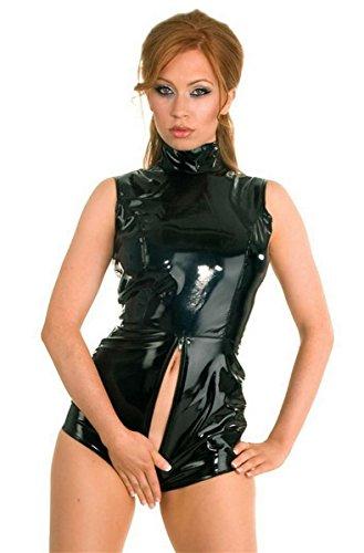 uit Catsuit Faux Leather Wet Look Bodycon Jumpsuit Costumes , black , M (Strip Bodysuit)