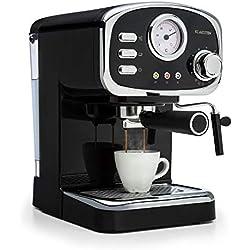 Klarstein Espressionata Gusto • Machine à espresso • Design rétro • Puissance absorbée 1100 W • Pression 15 bar • Réservoir d'eau amovible 1,25 L • Buse vapeur • Thermomètre • Tamis • noir