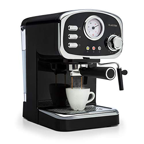 Klarstein Espressionata Gusto • Espressomaschine • Retro-Design • 1100 W Stromverbrauch • 15 Bar Druck • 1,25 Liter abnehmbarer Wassertank • Dampfdüse • Temperaturanzeige • Siebeinsatz • schwarz