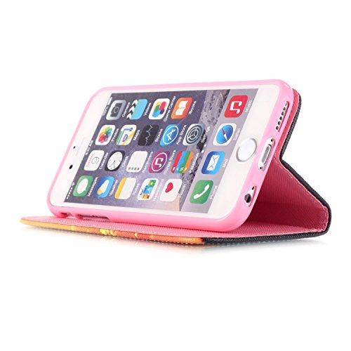 MOONCASE Étui pour iPhone 6 / 6S (4.7 inch) Printing Series Coque en Cuir Portefeuille Housse de Protection à rabat Case YB08 YB07 #0305