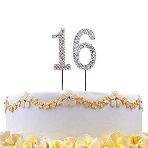 Gifts 4 All Occasions Limited SHATCHI-808 - Decoración para tarta (número 16, plata, diamante, cumpleaños, aniversario, fiesta)