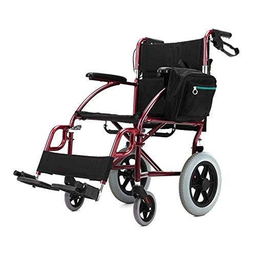 Reiseluhl-Rollstuhl Leichtgewicht für ältere Menschen, klappbare Aluminium-Portable Transit-Stuhl mit Bremsen, abnehmbare Fußstützen Puncture Proof Reifen, Standard 120kg Kapazität -