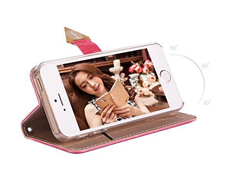 iPhone 7 Plus Wasserdichte Tasche PU leder Hülle Bling Schutzhülle mit Standfunktion Magnetverschluss Sunroyal Flip Handyhülle für iPhone 7 Plus 5,5 zoll Ultra Dünn Handytasche Multifunktion Wallet Br Rose rot