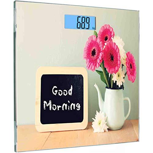 Ultra Slim Hochpräzise Sensoren Digitale Körperwaage Zitat Personenwaage aus gehärtetem Glas, Tafel mit der Aufschrift Guten Morgen, geschrieben neben Vase mit frischen Blumen, Mehrfarbig -