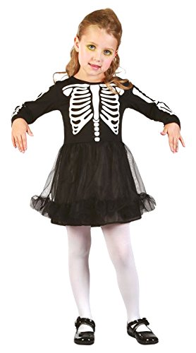 63-Kostüm Baby Skelett Mädchen-80/92cm-Einheitsgröße ()