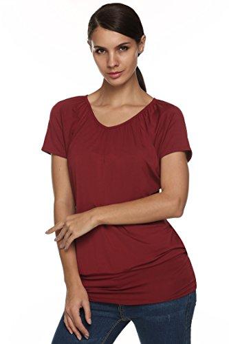 Zearo Damen Sommer Rundhalsausschnitt Kurzarm T-Shirt Rotwein