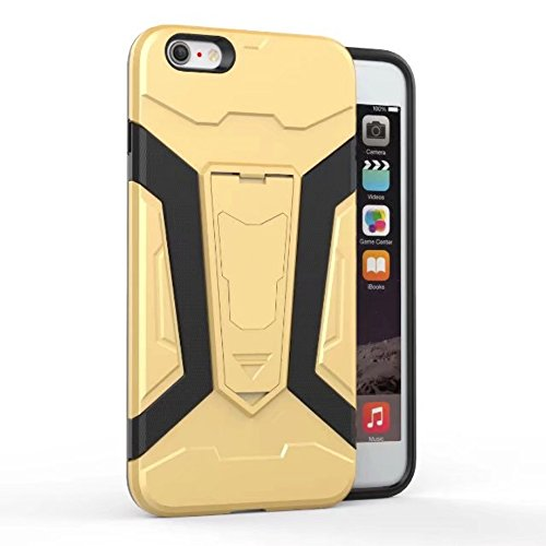 UKDANDANWEI Apple iPhone 6s Hülle, 【Armor Man】Hybrid Armour Tough Stil Dual LayerDefender PC Bumper Handyhülle Cases mit Ständer [stoßfest Fall] für Apple iPhone 6s - Grau Gold