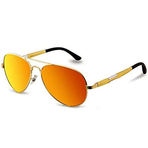 Duco Polarized Aviator Sunglasses Mens Womens for Outdoor Sports Fishing Golf 3026 (Gold/Red Mirror)