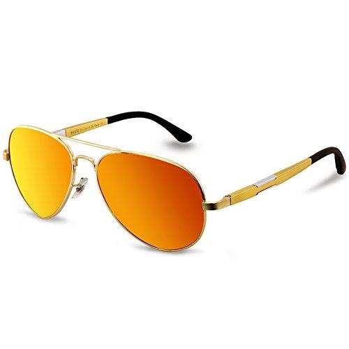 DUCO Unisex Aviator Stil Polarisierte Sonnenbrille, Pilotenbrille mit Federscharnier, Etui und Putztuch, 3026 (Gestell: Gold, Gläser: Rot Gespiegelt)