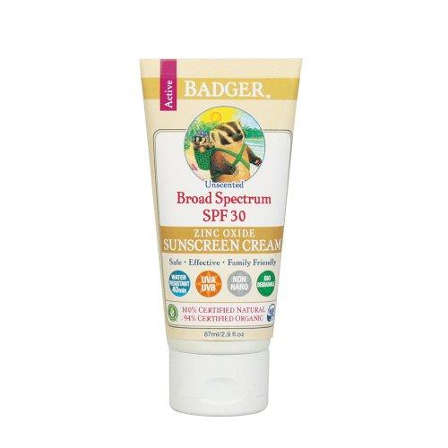 Badger All Natural Sunscreen, SPF 30, Unscented 2.9 oz (87 g)