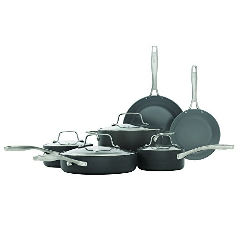 Bialetti Ceramic Pro Hard Anodized Non-Stick Saucepan 10 pc. Cookware Set grey