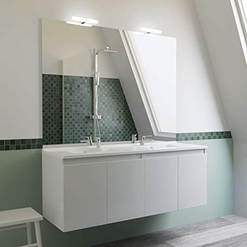 Meuble salle de bain double vasque PROLINE 140 - Blanc brillant 6014a8b706fb