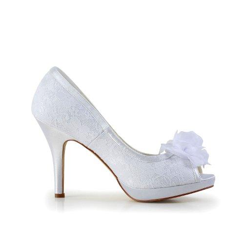 Jia Jia Wedding 37027 chaussures de mariée mariage Escarpins pour femme Blanc