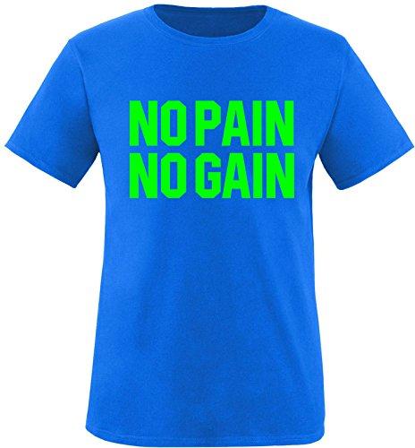 EZYshirt® No Pain No Gain vol. 3 Herren Rundhals T-Shirt Royal/Neongrün